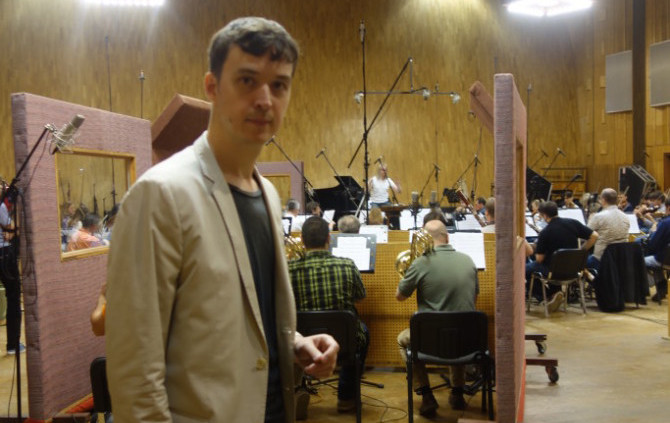 Mosfilm. Interview with composer Ivan Uryupin during the recording of the music for the film «Ice Beauty»